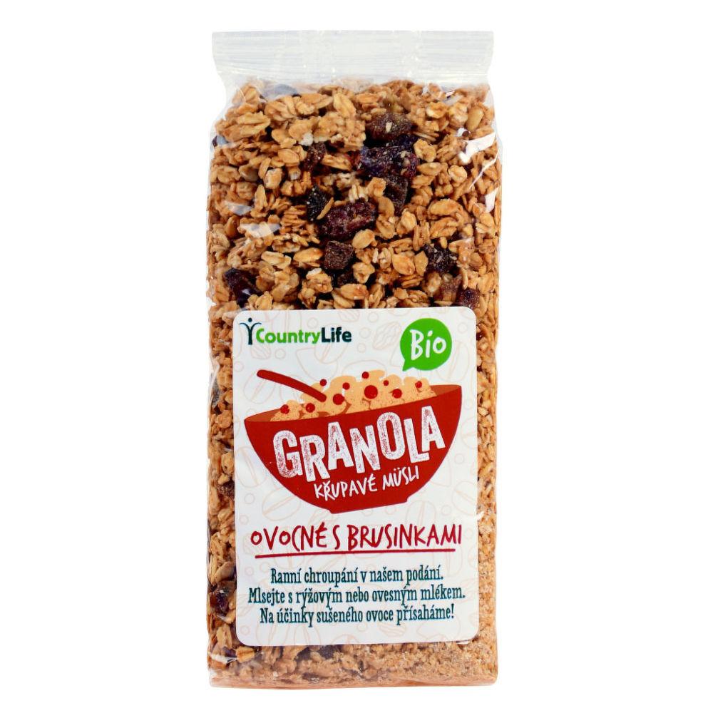 Granola - Křupavé müsli ovocné s klikvou 350g BIO   COUNTRYLIFE
