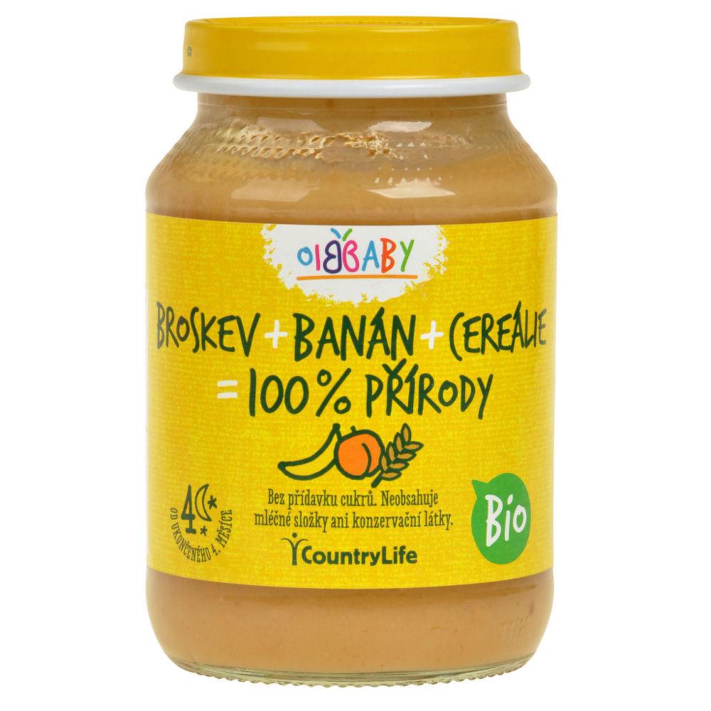 Příkrm broskev, banán, cereálie 190g BIO   COUNTRYLIFE