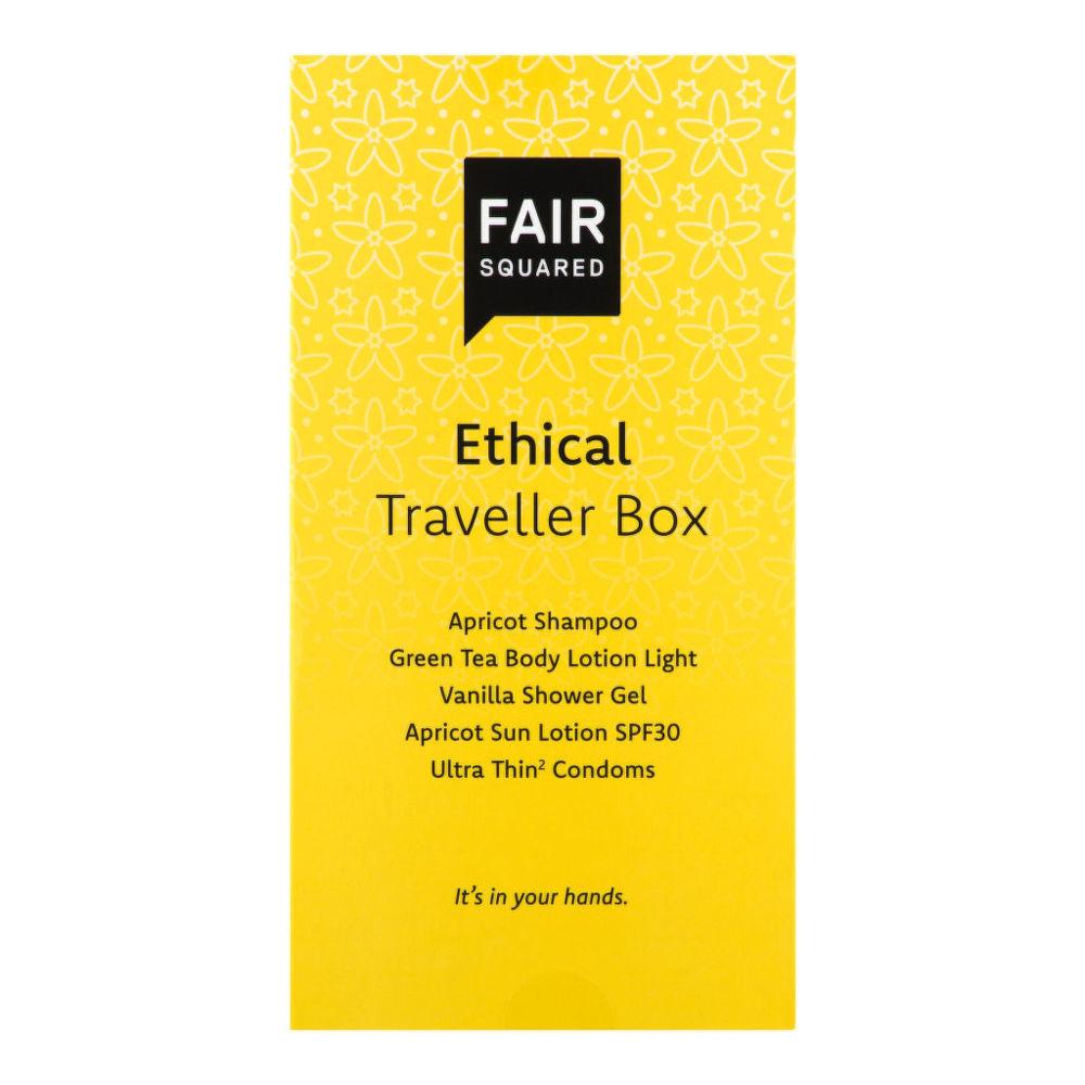 Sada cestovní ethical (šampon meruňka 20 ml, mléko zelený čaj 20ml, gel sprchový 20 ml  FAIR SQUARED