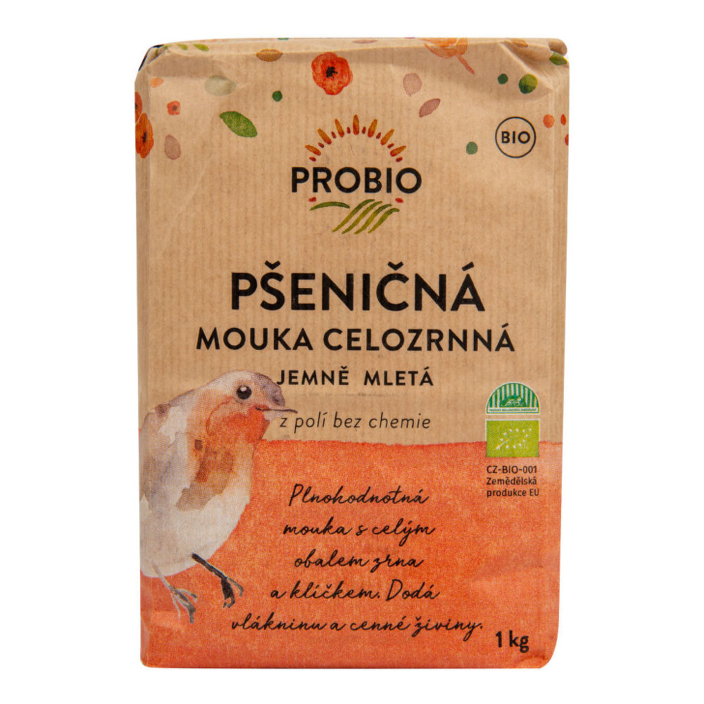 Mouka pšeničná celozrnná jemně mletá 1 kg BIO PROBIO Bio, Veganské, Bez přidaného cukru, Bez mléka,