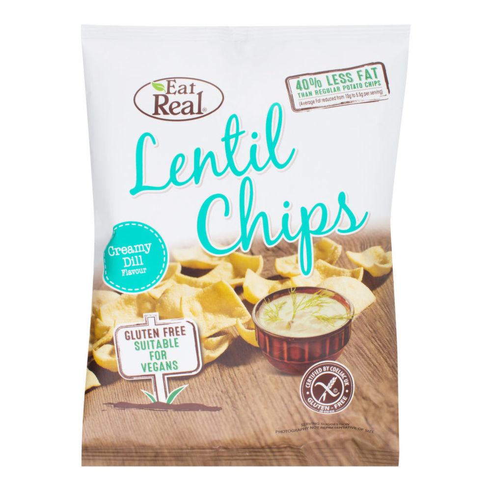 Chipsy čočkové s příchutí krémového kopru 40 g   EATREAL