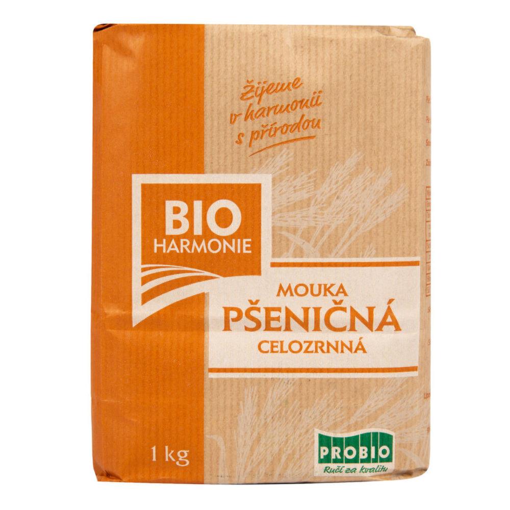Mouka pšeničná celozrnná jemně mletá 1 kg BIO BIOHARMONIE Bio, Veganské, Bez přidaného cukr