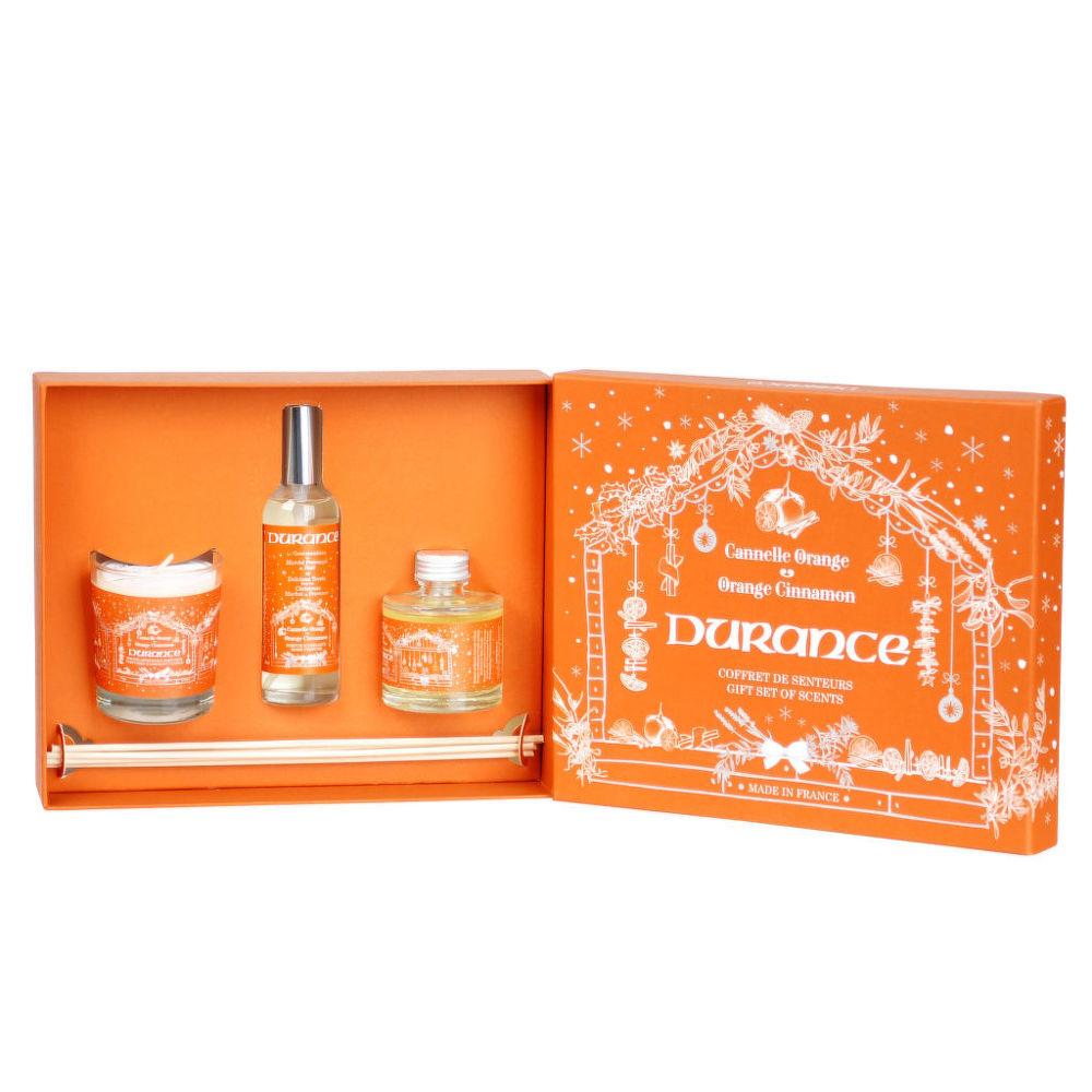 Kazeta vánoční Pomeranč-skořice: svíčka 75 g, rozprašovač 50 ml, vonná dekorace 50 ml DURANCE
