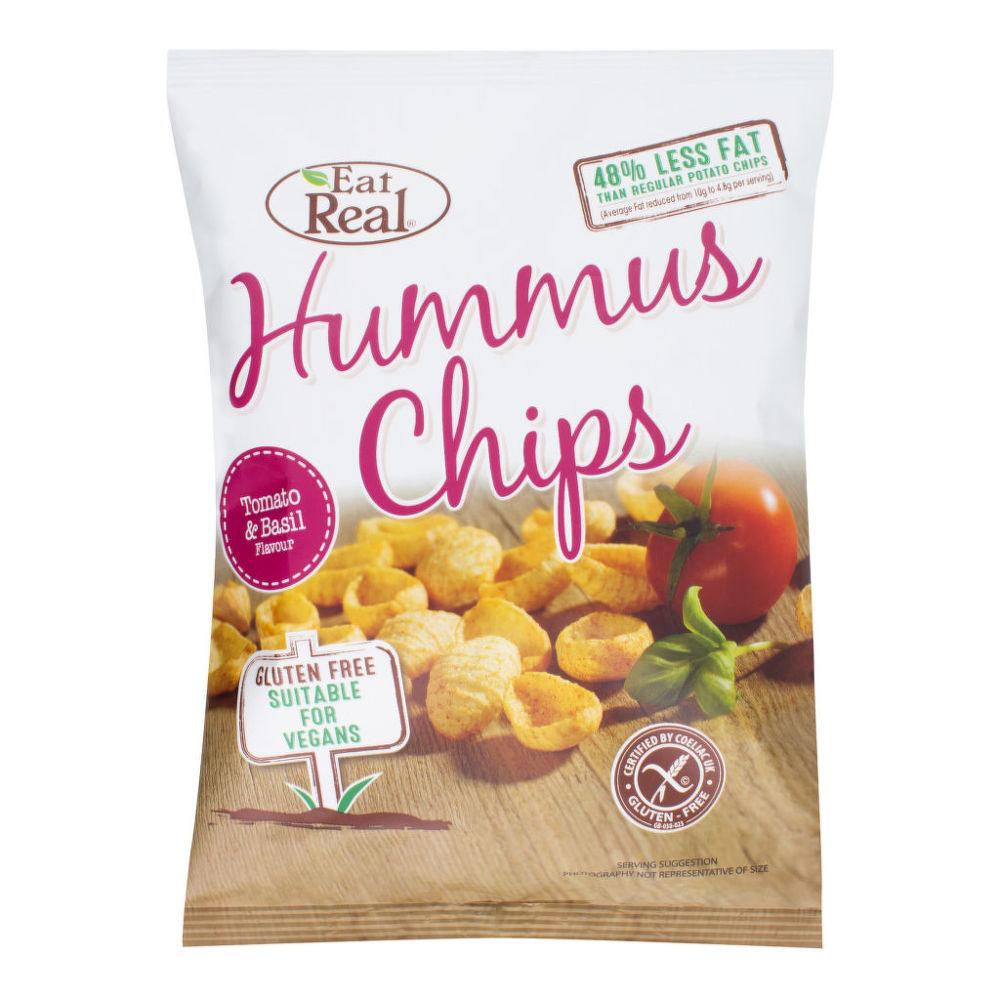 Chipsy cizrnové s příchutí rajčat a bazalky 45 g   EATREAL