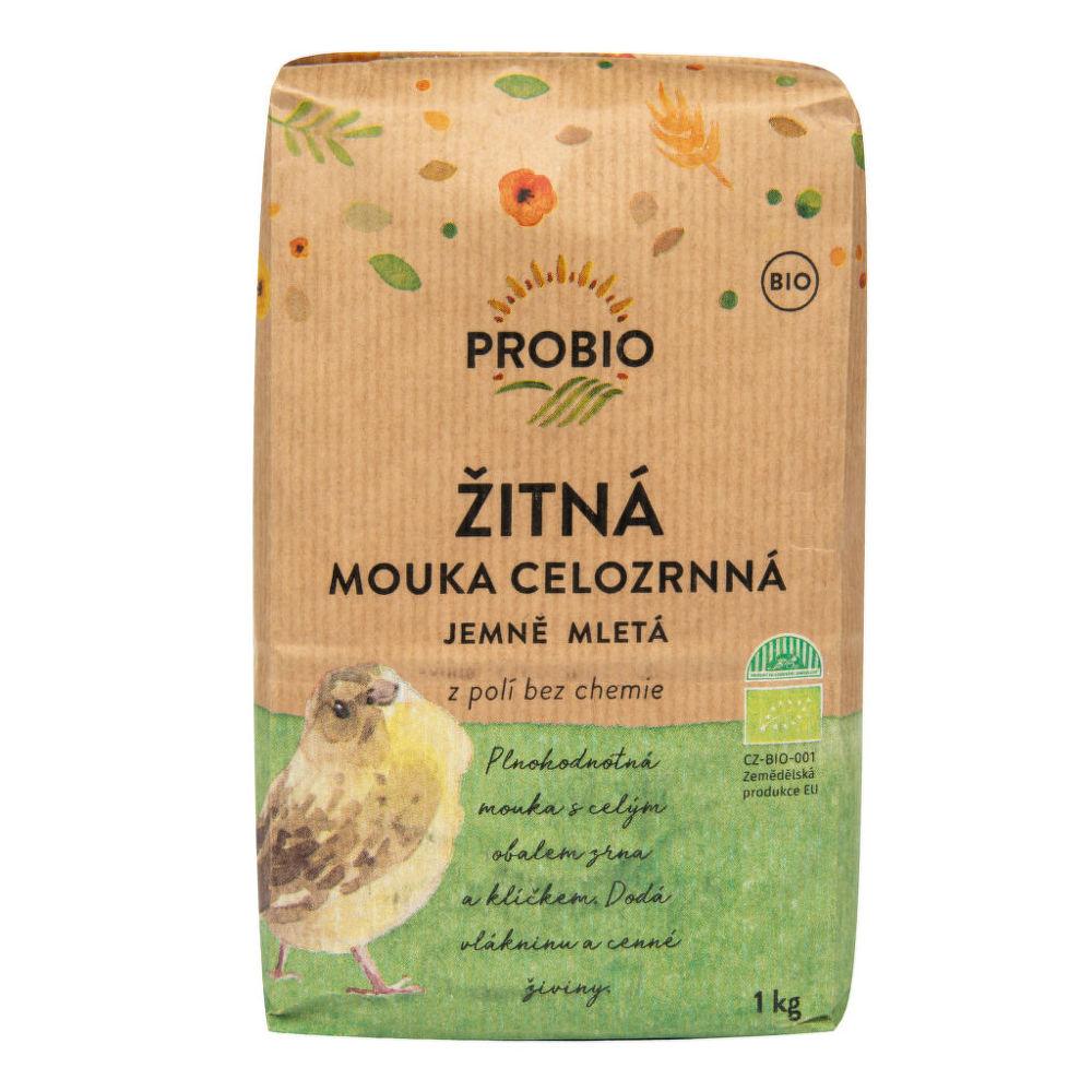 Mouka žitná celozrnná jemně mletá 1 kg BIO PROBIO Bio, Veganské, Bez přidaného cukru, Bez ml