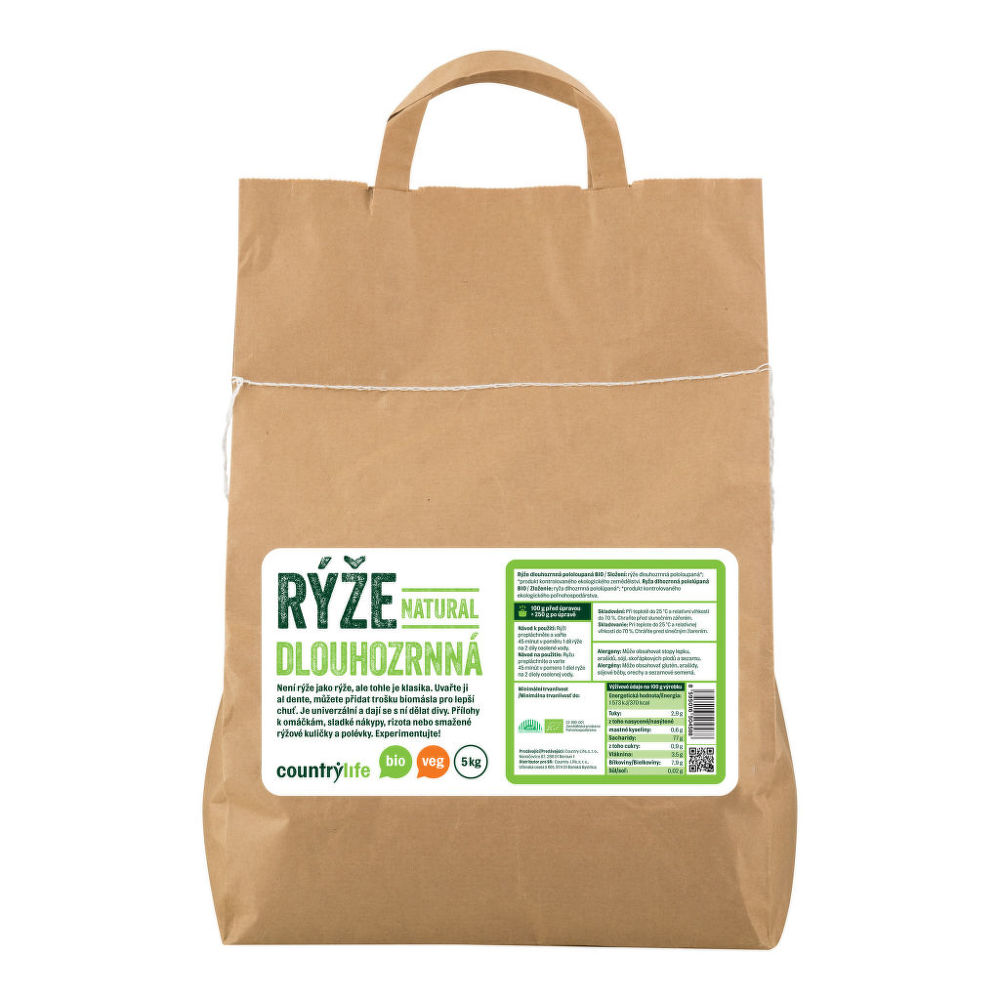 Rýže dlouhozrnná natural 5 kg BIO COUNTRY LIFE