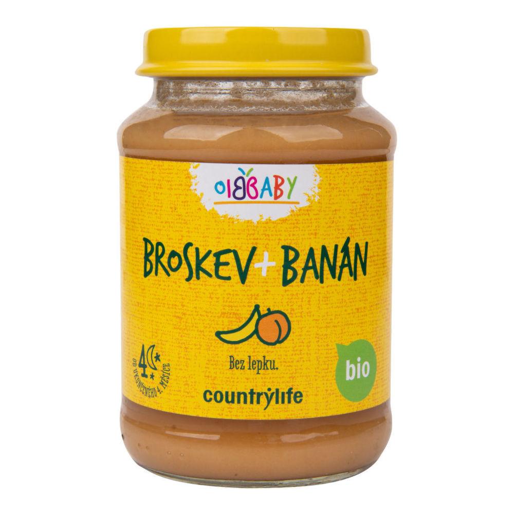 Příkrm broskev, banán 190 g BIO COUNTRY LIFE