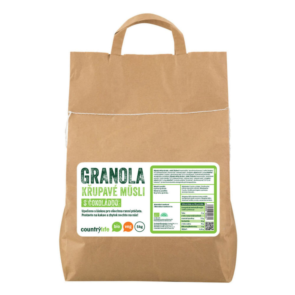 Granola - Křupavé müsli s čokoládou 5 kg BIO COUNTRY LIFE