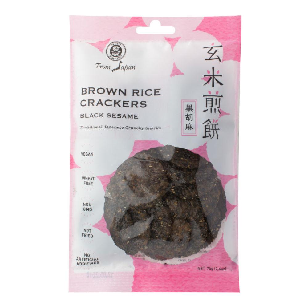 Crackery celozrnné rýžové s černým sezamem 75 g   MUSO