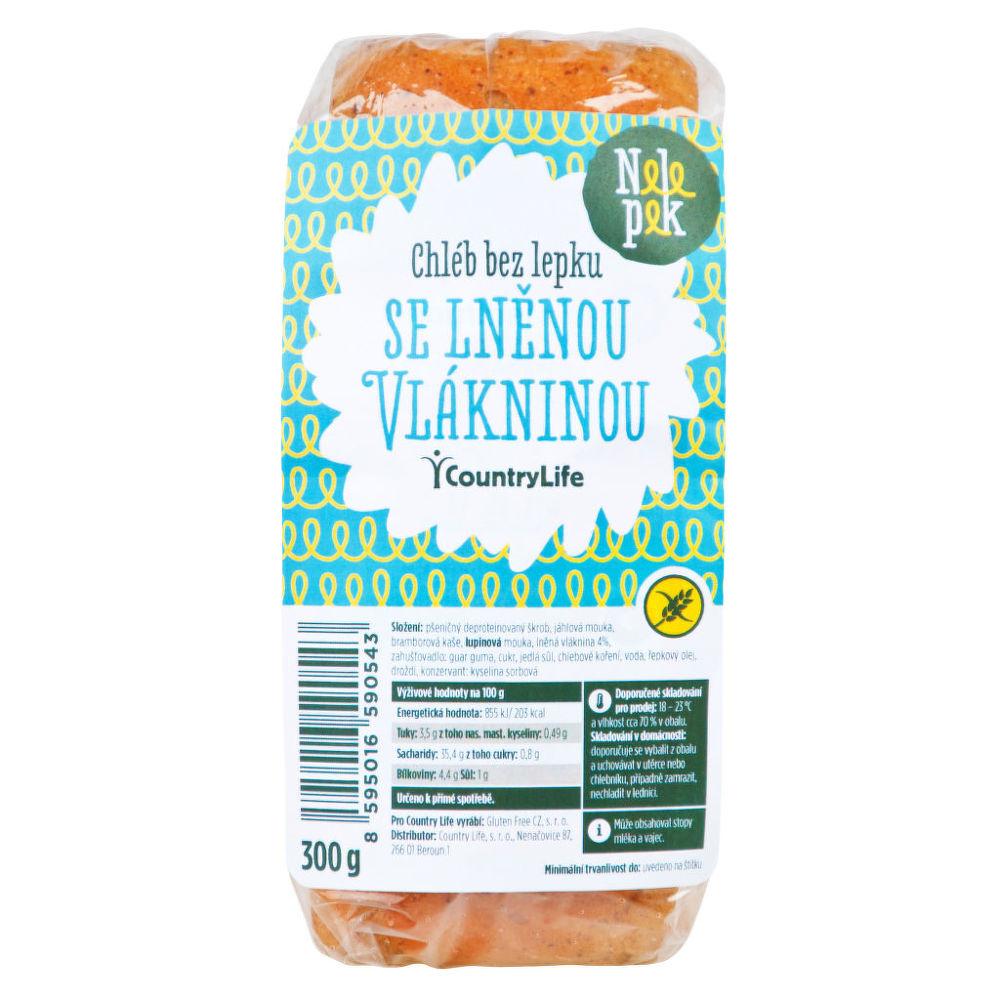 Chléb se lněnou vlákninou bez lepku 300g NELEPEK