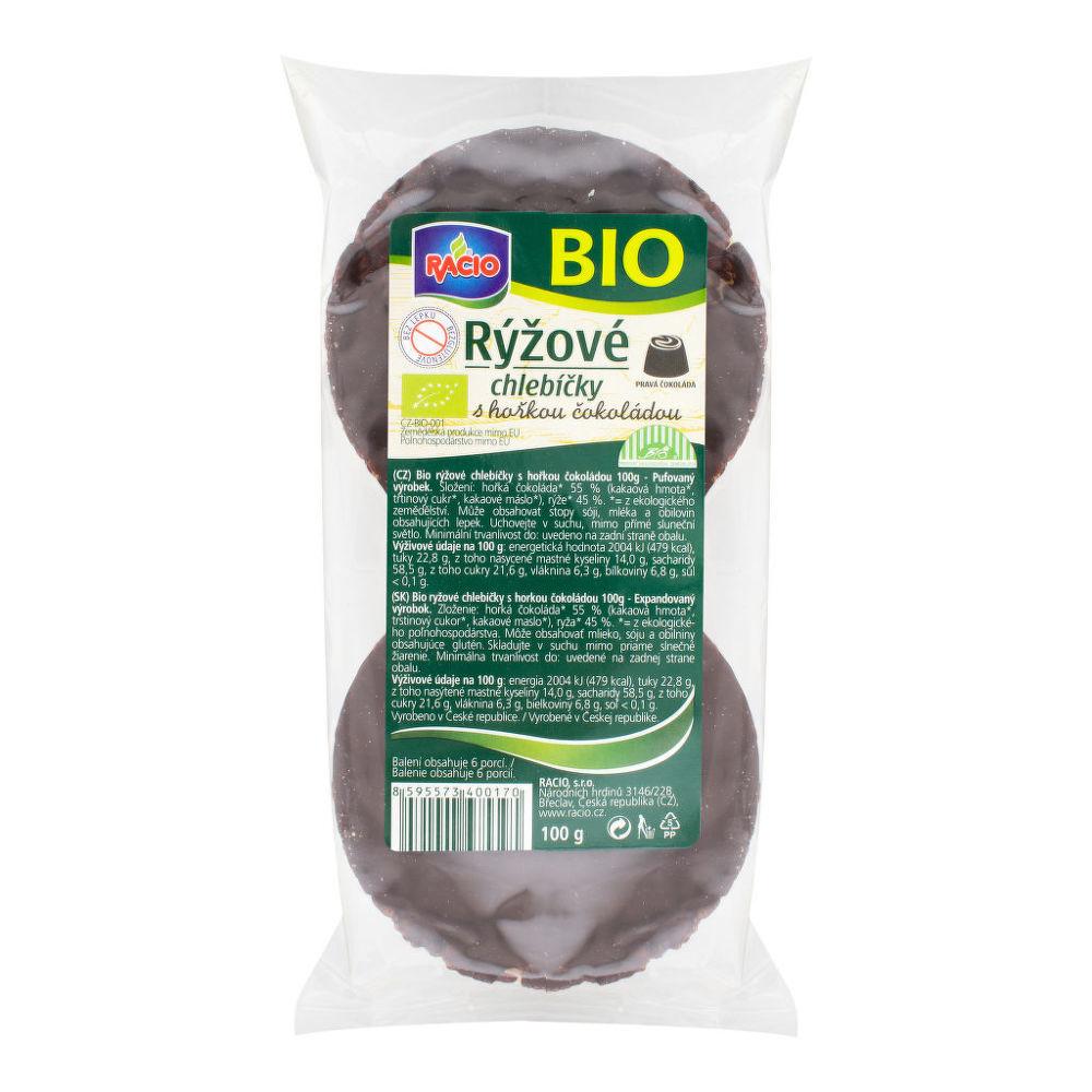 Chlebíčky rýžové s hořkou čokoládou bezlepkové  100g BIO   RACIO