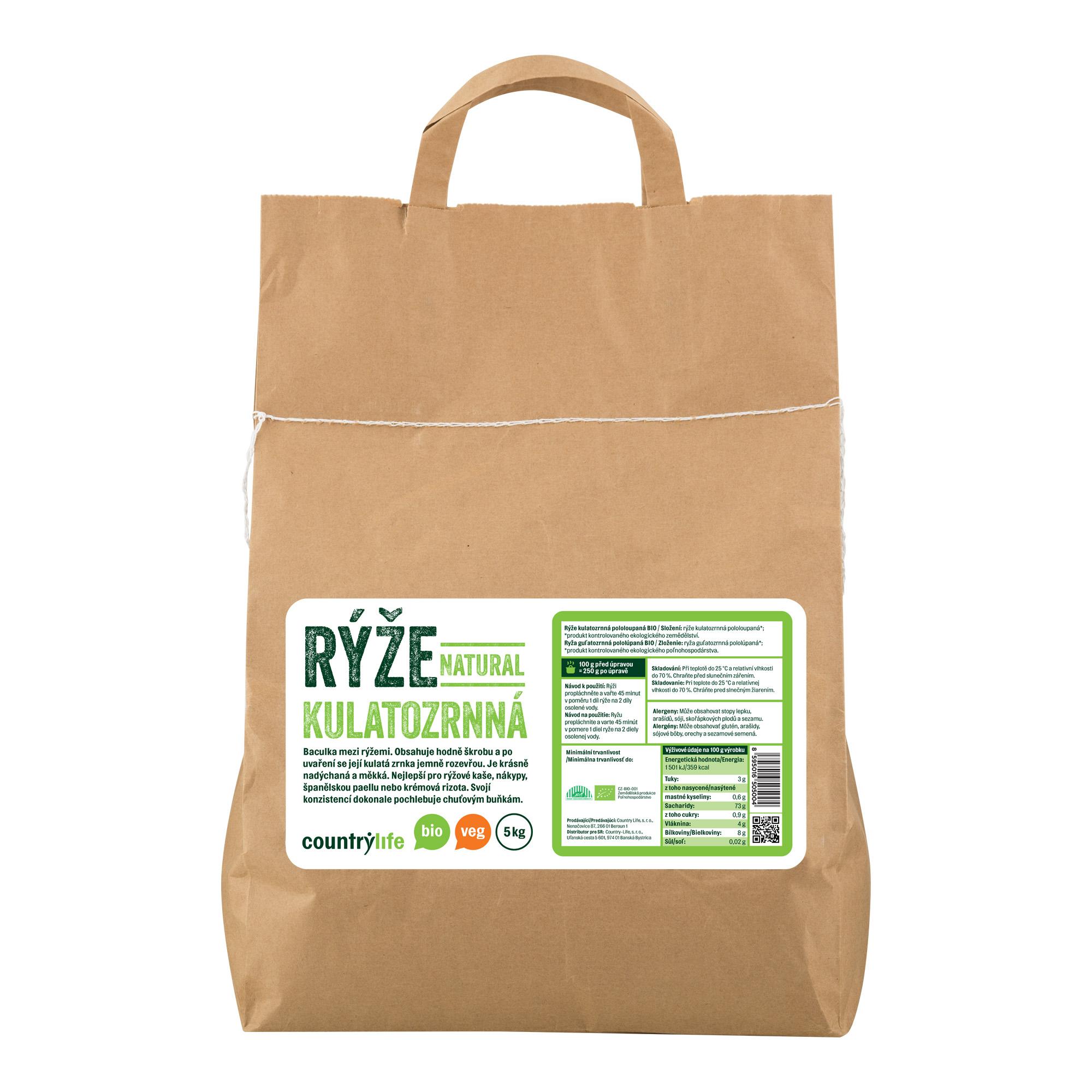 Rýže kulatozrnná natural 5kg BIO   COUNTRYLIFE