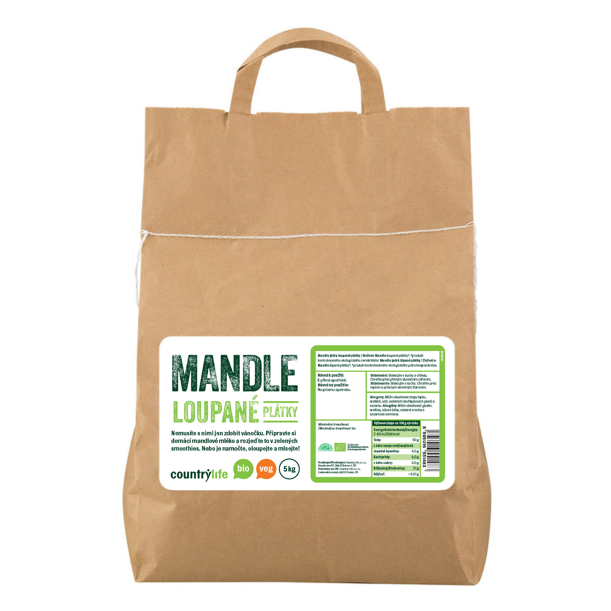 Mandle loupané plátky 5kg BIO   COUNTRYLIFE