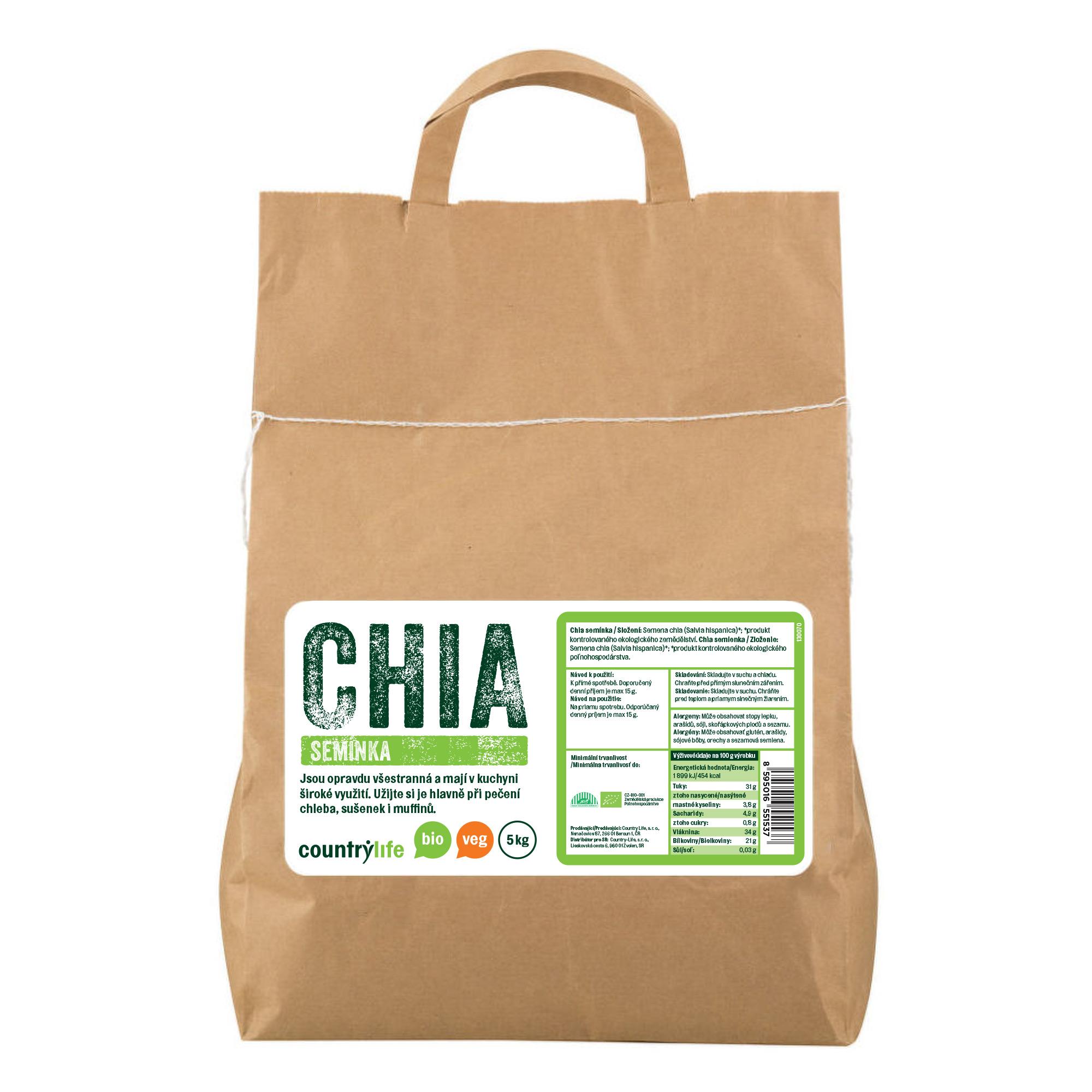 Chia semínka 5kg BIO   COUNTRYLIFE