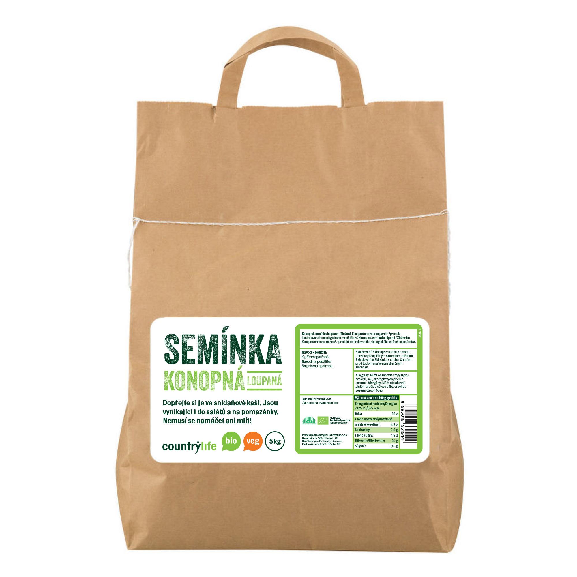 Konopná semínka loupaná 5kg BIO   COUNTRYLIFE