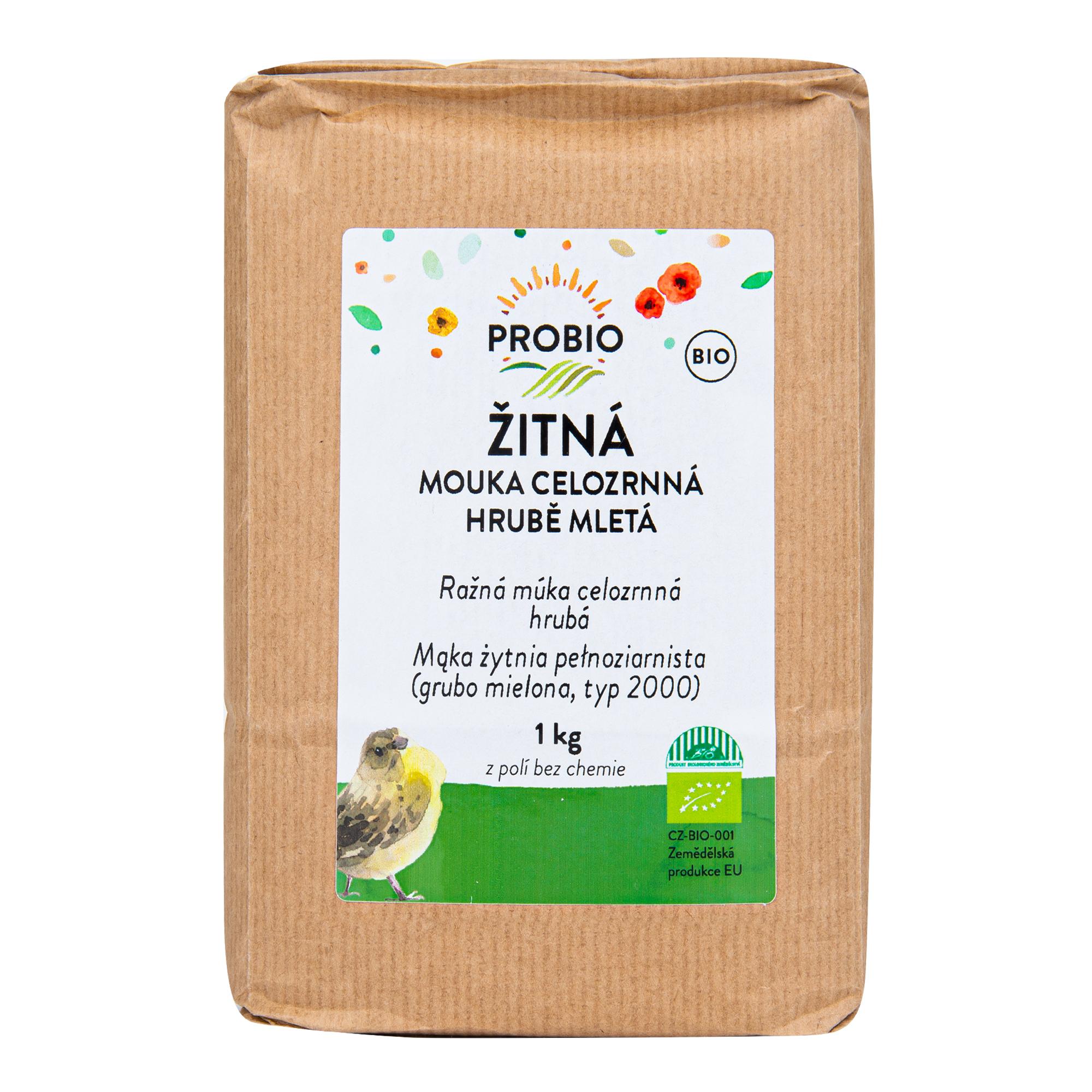 Mouka žitná celozrnná hrubě mletá 1kg BIO    PROBIO